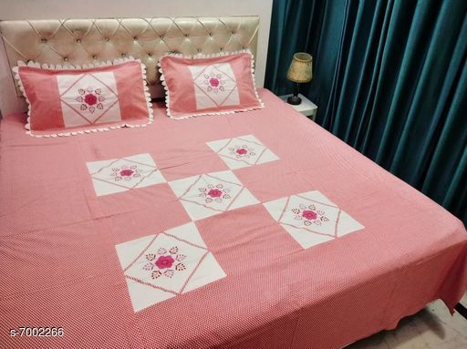 Bedding Set Double Bedsheet With 2 Pillow Covers  *No. of Bedsheets* 1  *No. of Pillow Covers* 2  *Thread Count* 160  *Sizes*   *Free Size (Bedsheet Length Size* 90 in, Bedsheet Width Size  *Sizes Available* Free Size *    Catalog Name: Gorgeous Stylish Bedding Set CatalogID_1117621 C53-SC1103 Code: 408-7002266-