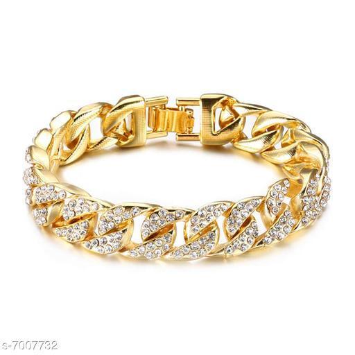ZIVOM® Curb Cuban Hip Hop Heavy Links 22K Gold AAA Cubic Zirconia Bracelet for Men Boys