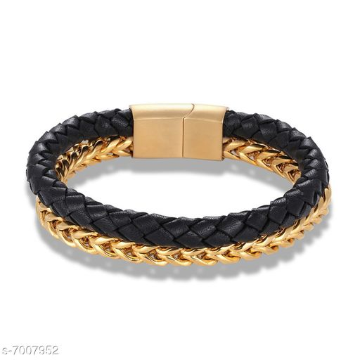 ZIVOM® Trendy Stylish Two Layer Black Gold 316L Surgical Stainless Steel Braided Genuine Leather Wrist Wrap Bracelet for Men Boys
