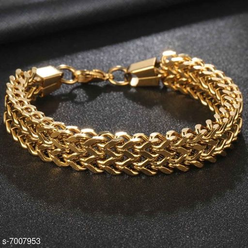 ZIVOM® Stylish Wheat Glossy 18K Gold 316L Surgical Stainless Steel Bracelet For Boys Men