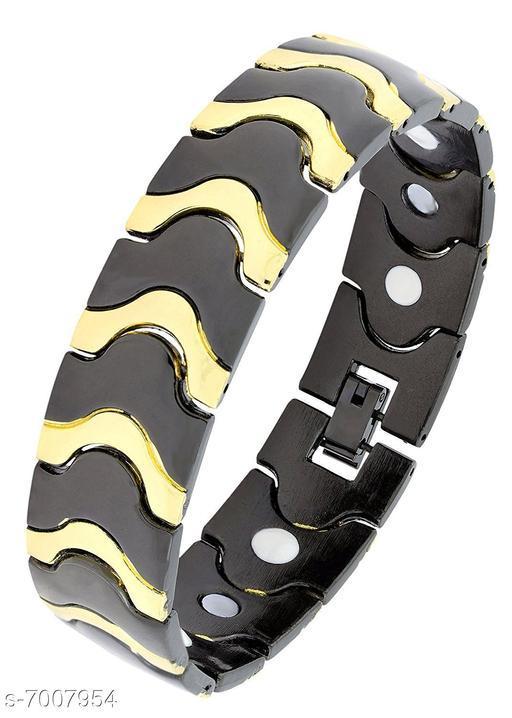 ZIVOM® Stylish Geometric 316L Stainless 18K Gold Black Rhodium Bracelet For Men