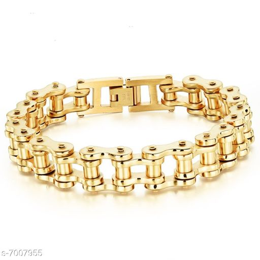 ZIVOM® Biker Cycle Bike Motorcycle Chain 18K Gold Heavy 316L Surgical Stainless Steel Bracelet For Men Boys