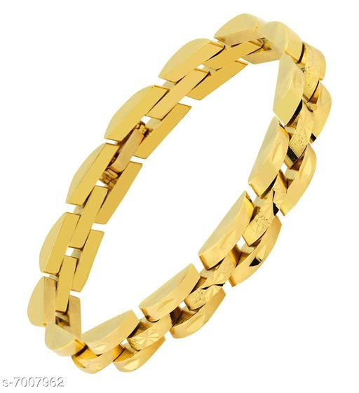 ZIVOM® Stylish Surgical Stainless Steel Gold & Laser Gold Free Size Bracelet Men