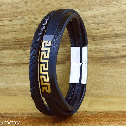 ZIVOM® Stylish Triple Layer Wrist Wrap Genuine Black Leather Stainless Steel Magnetic Clasp Bracelet Men Boys