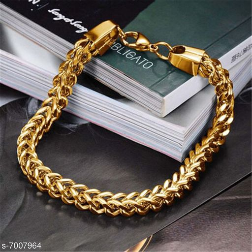 ZIVOM® 22K Gold 6mm Double Curb Wheat Silver 316L Surgical Stainless Steel Smooth Bracelet for Men