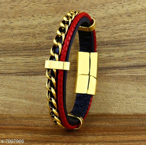 ZIVOM® Trendy Stylish Two Layer Red Black 316L Surgical Stainless Curb Chain Braided Genuine Leather Wrist Wrap Bracelet for Men Boys