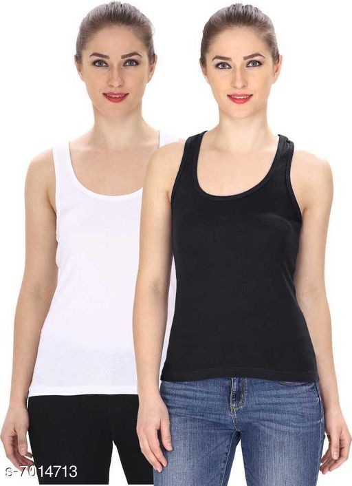 Women Pack of 2 White Cotton Blend Camisoles