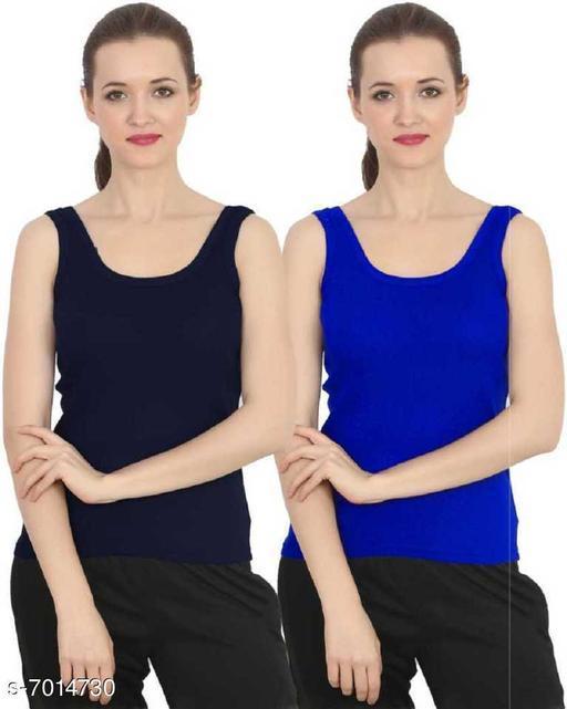 Women Pack of 2 Blue Cotton Blend Camisoles