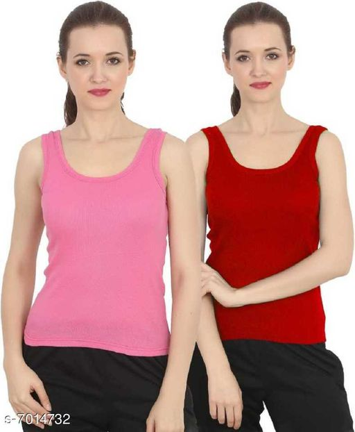 Women Pack of 2 Red Cotton Blend Camisoles