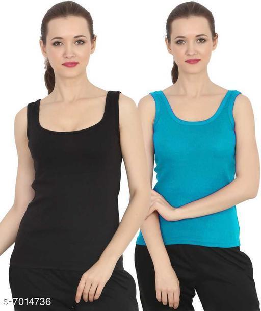 Women Pack of 2 Black Cotton Blend Camisoles