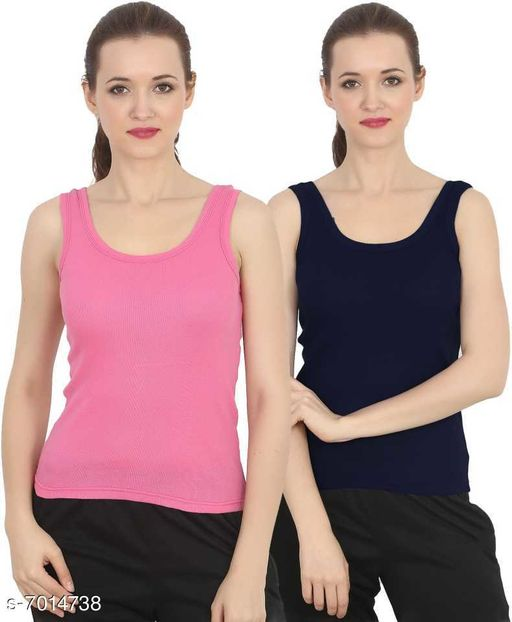 Women Pack of 2 Navy Blue Cotton Blend Camisoles