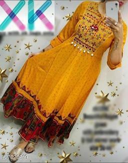 Women Rayon Flared Printed Mustard Kurti