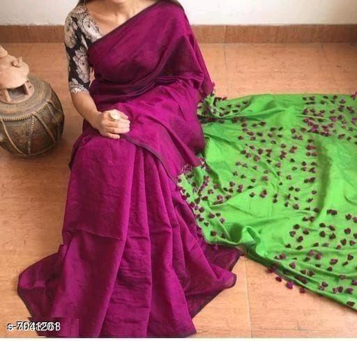 Handloom Silk cotton pompom saree