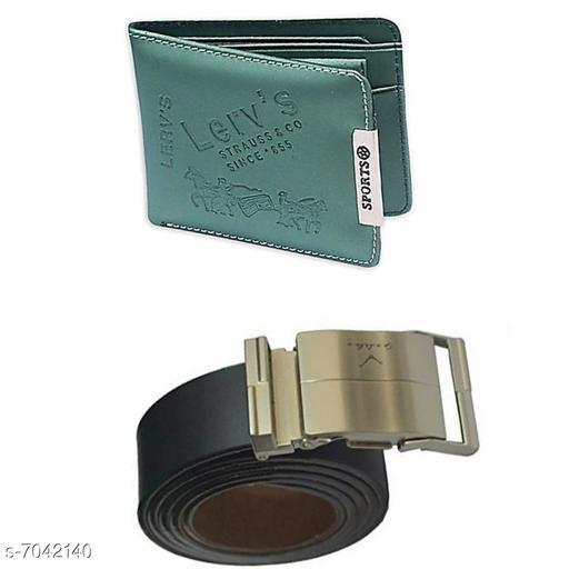 Stylish Leatherette Men Belts & Wallets Combo