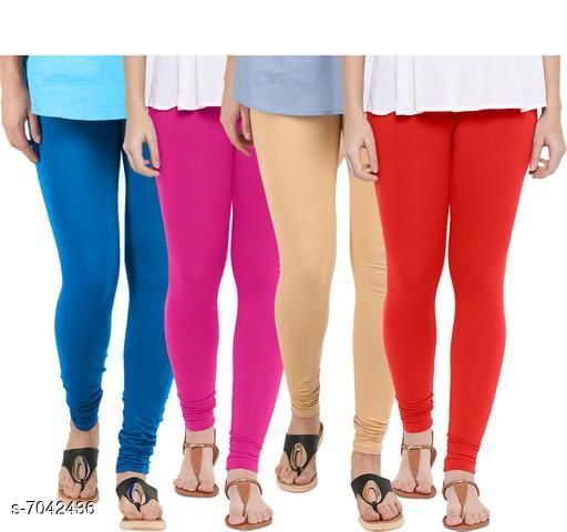 Leggings & Tights  Casual Latest Women Leggings Fabric: 100% Cotton Lycra Pattern: Solid Multipack: 4