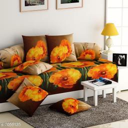 Diwan Set of 8 pcs(1 Diwan Bedsheet, 2 Bolster Covers and 5 Cushion Covers)