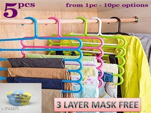 5 Layer Pants Clothes Hanger Wardrobe Storage Organizer Rack