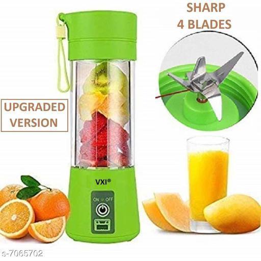 4 Blade Portable Electric Rechargeable USB Juicer Blender Mixer Bottle Cup (380 ml,Multicolor)