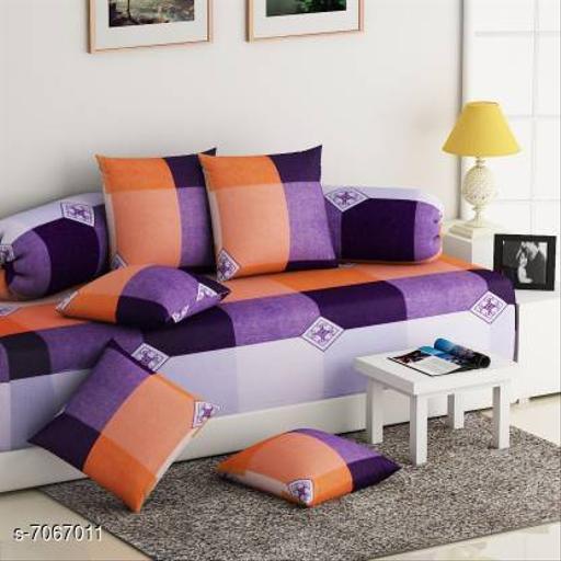 Home Streak Premium Printed Super Soft Siwan set 8Pcs(1 Single Bedsheet,5 Cushion Covers and 2 Bolster Covers)