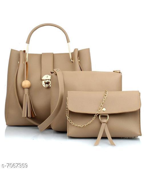 Trendy Women's Beige PU Handbag