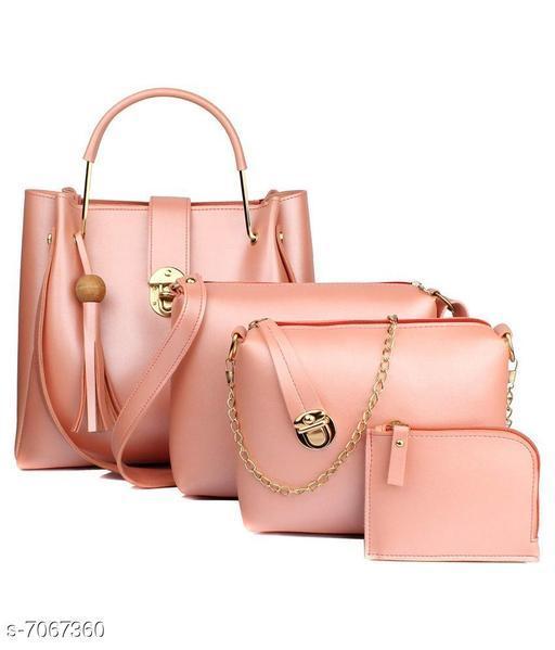 Trendy Women's Peach PU Handbag