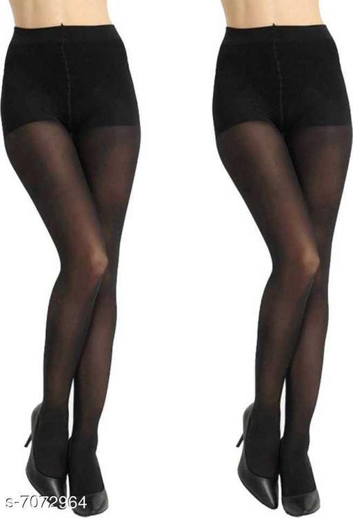 Women, Girls Sheer Stockings - Black & Black(pack of 2)