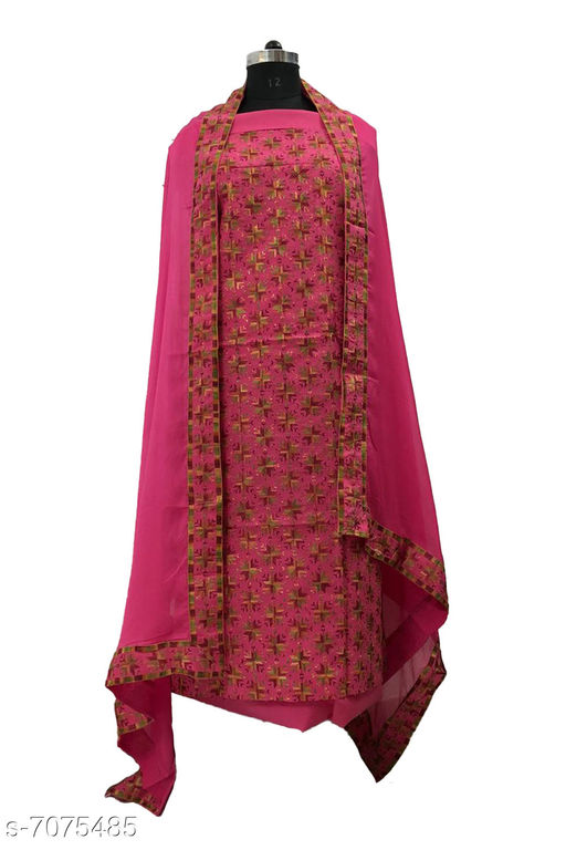 Designer Cotton Suit Fabric with Phulkari Embroidery