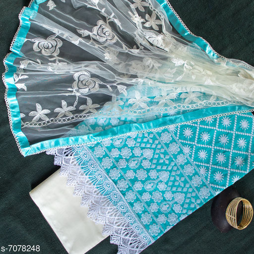 Tulip Prints Women's Blue Cotton Blend Chikankari Unstiched Dress Material With Net Dupatta