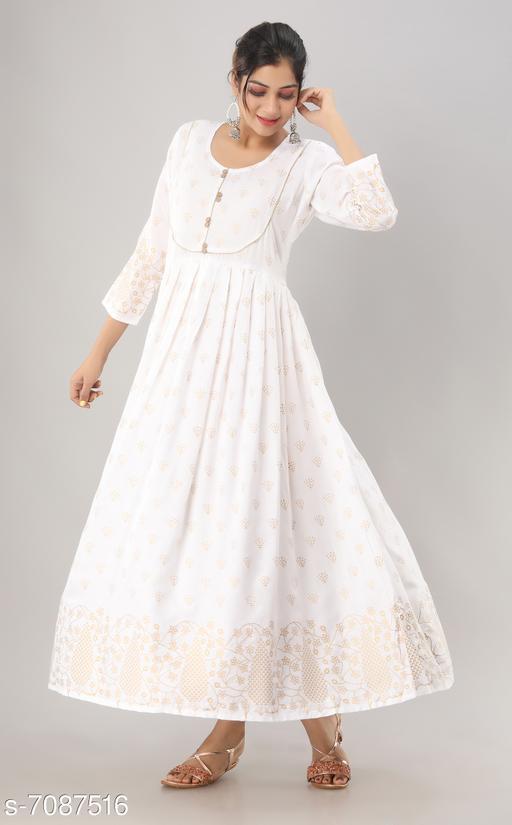 Women's Printed White Rayon Kurti