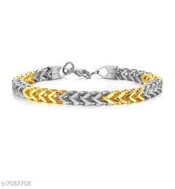 ZIVOM® Gold Silver 6mm Double Curb Wheat Silver 316L Surgical Stainless Steel Smooth Bracelet for Men