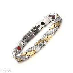ZIVOM® Slim 18K Gold Silver Stainless Steel Magnet Health Care Therapy Bio Energy Bracelet Men Boys