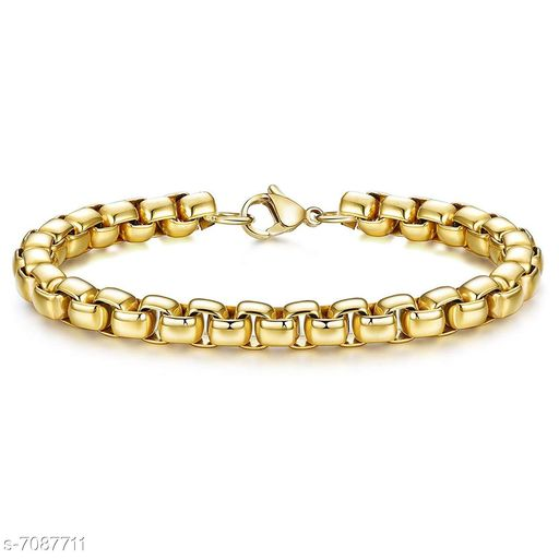 ZIVOM® Simple 7Mm Popcorn 18K Gold 316L Surgical Stainless Steel Lobster Clasp Chain Boys Girls Men Women