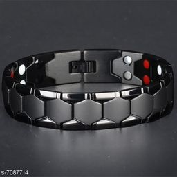 ZIVOM® Glossy Black Stainless Steel Magnet Health Care Therapy Bio Energy Bracelet Men Boys
