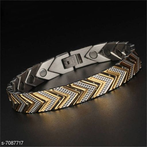 ZIVOM® Stylish Italian Glossy 18K Gold Rhodium 316L Surgical Stainless Steel Magnet Health Care Therapy Bio Energy Bracelet Men Boy