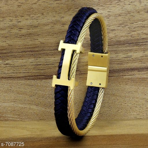 ZIVOM® Stylish Dual Layer Luxury Gold Stainless Steel Black Leather Magnetic Clasp Bracelet for Men Boys