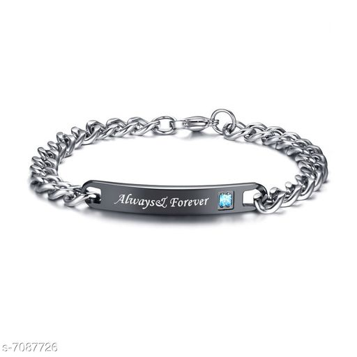 ZIVOM® Stylish Always Forever Black Silver 316L Surgical Stainless Steel Id Couple Lovers Bracelet Men Women