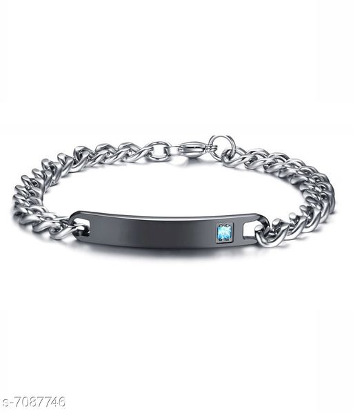 ZIVOM® Stylish Valentine Black Silver 316L Surgical Stainless Steel Id Couple Lovers Bracelet Men Women