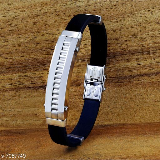 ZIVOM® 316L Surgical Stainless Steel Rhodium Plated Rubber Strap Wrist Band Bracelet Boys Men