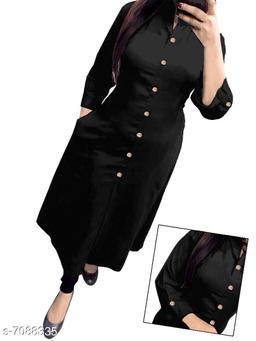 Women's Black Solid Rayon Slub Kurti