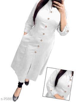 Women's Solid White Rayon Slub Kurti