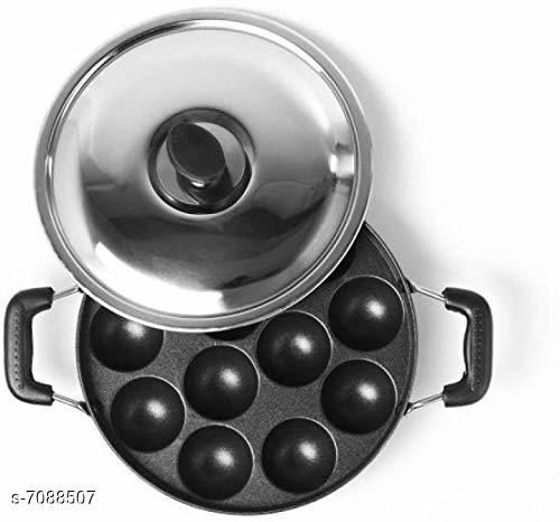 Rishtavia 12 Cavity Appam Patra Side Handle with Lid, 23 cm, Black