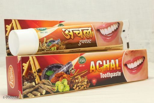 Oral Care Achal Toothpaste  *Product Name* Achal Toothpaste  *Product Type* Achal  *Type* Toothpaste  *Capacity* 80 gm  Each  *Multipack* Pack Of 3  *Sizes Available* Free Size *    Catalog Name:  Achal Toothpaste CatalogID_1131337 C82-SC1307 Code: 942-7088851-