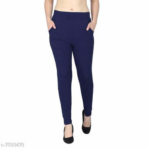 Laiira Women's solid blue Jeggings for Yoga, Gym and Active Sports Fitness