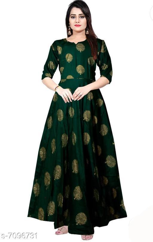 Women's Printed Green Rayon Dress