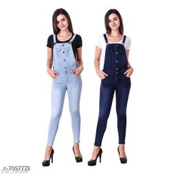 Ansh Fashion Wear Women's Denim Dungarees - Pack of 2