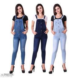 Ansh Fashion Wear Women's Denim Dungarees - Pack of 3