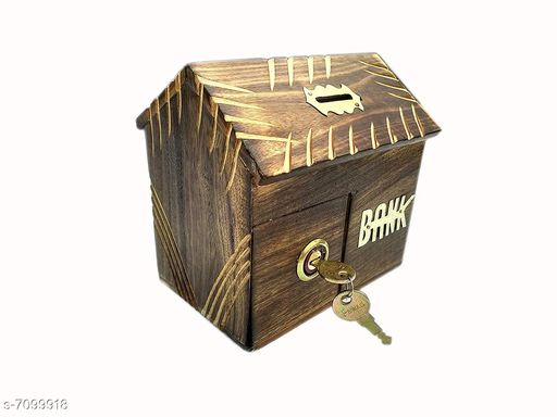 Wooden Hut Shaped Carved Coin Bank