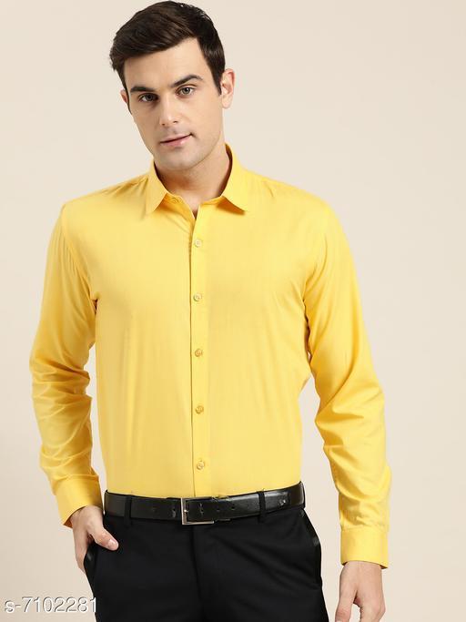 Sojanya (Since 1958), Men's Cotton Yellow Classic Formal Shirt