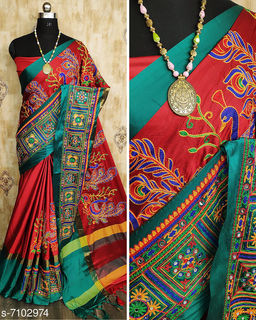 Riva Enterprise Women's Cotton Silk Heavy Kutchi Work With Peacock Design Embroidered Party Wear Saree