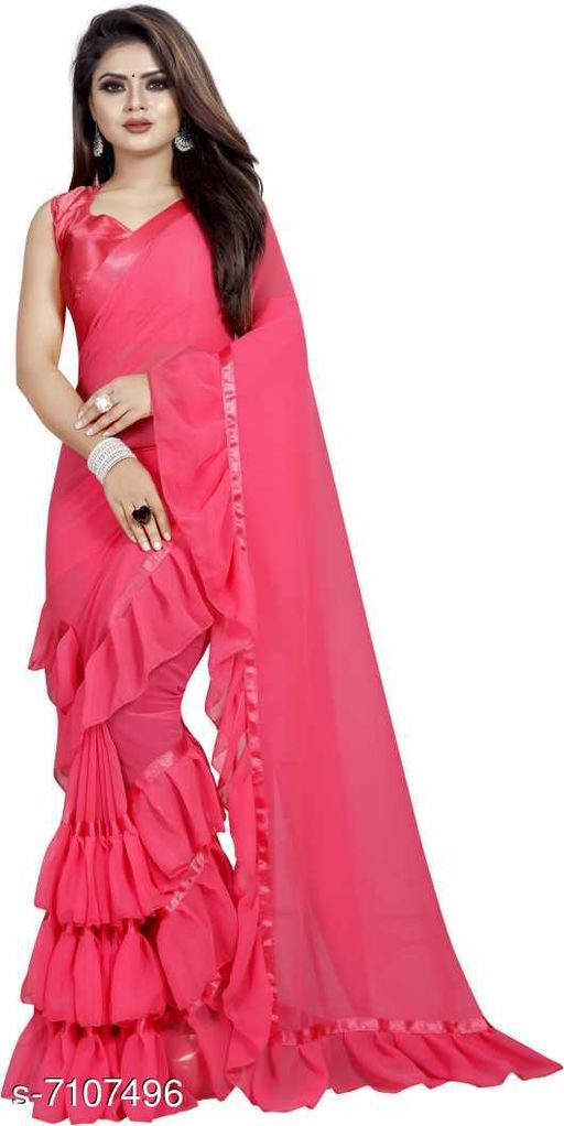 Amiga Fashion Women's Georgette Friil Saree With Blouse Piece